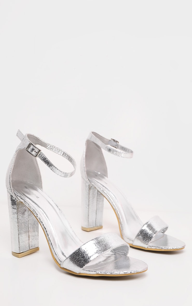 May Silver Block Heeled Sandals 3