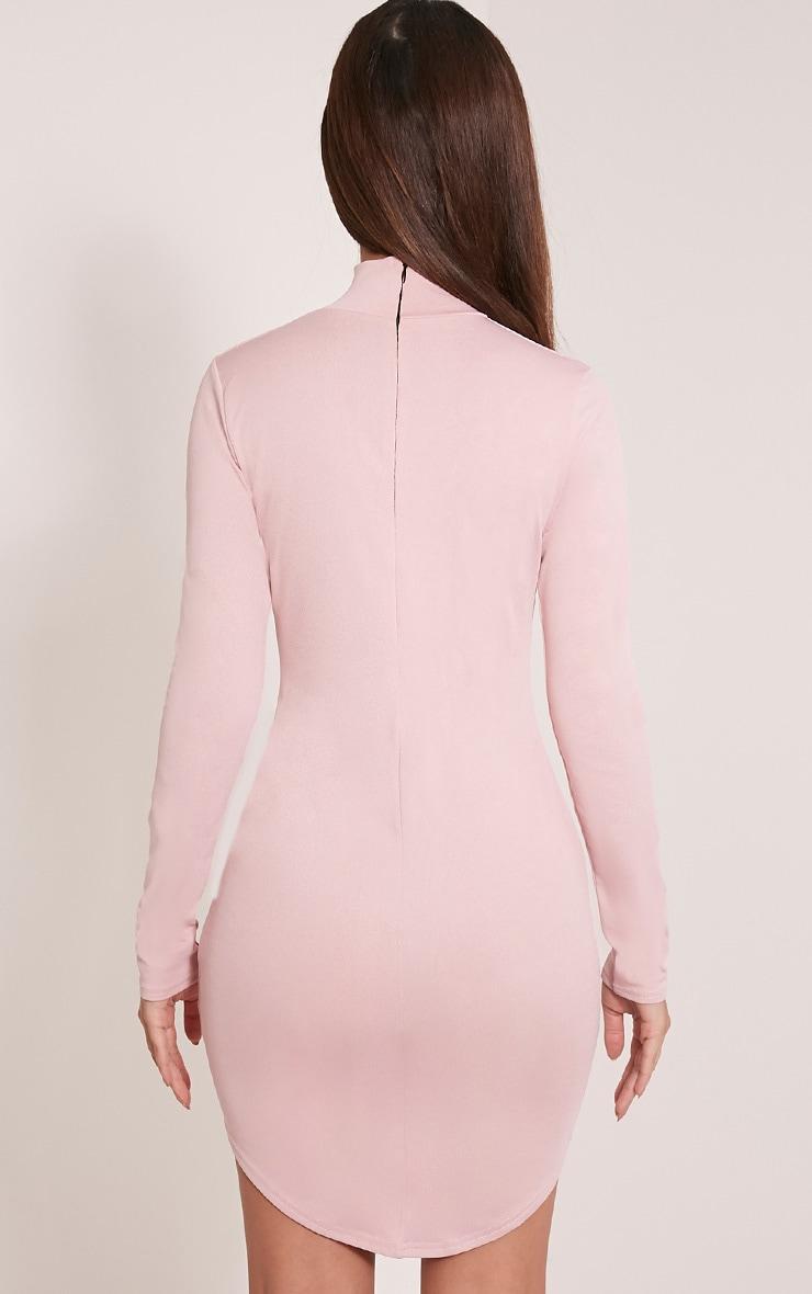 Arianna Dusty Pink Crepe Choker Detail Bodycon Dress 2