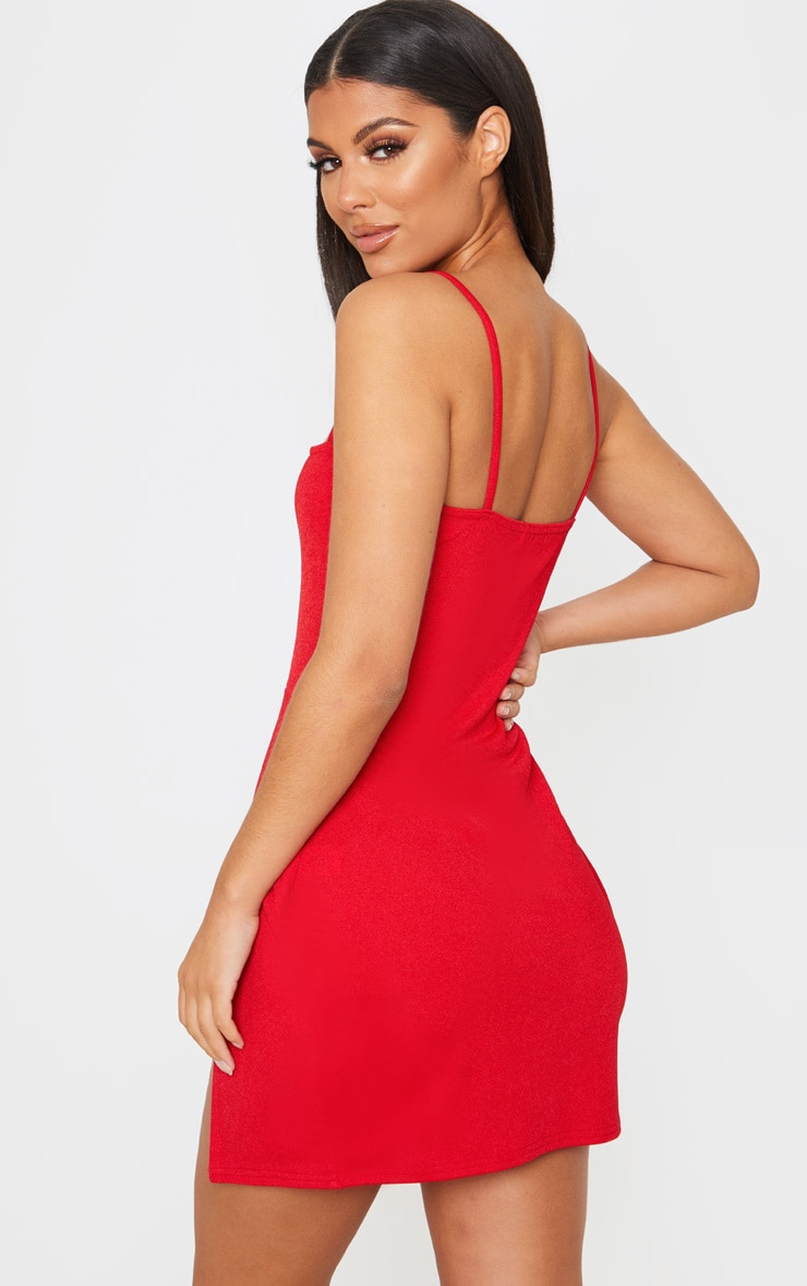 Red Extreme Thigh Split Panelled Plunge Bodycon Dress 2