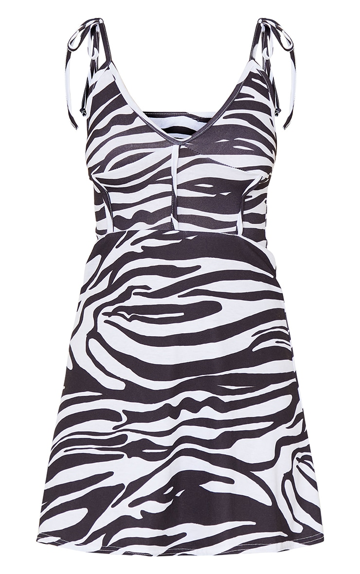 Black Zebra Print Binding Detail Tie Strap Shift Dress 5