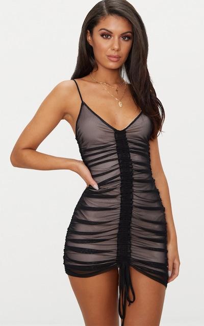 b17762ccafffd Black Mesh Ruched Bodycon Dress