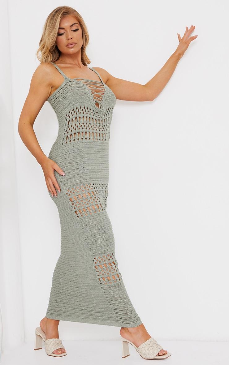 Sage Green Crochet Lace Up Midaxi Dress 3