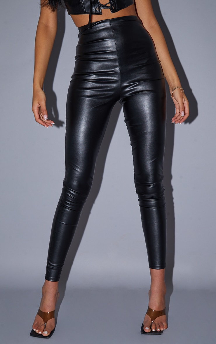 Tall Black Faux Leather High Waisted Legging 2