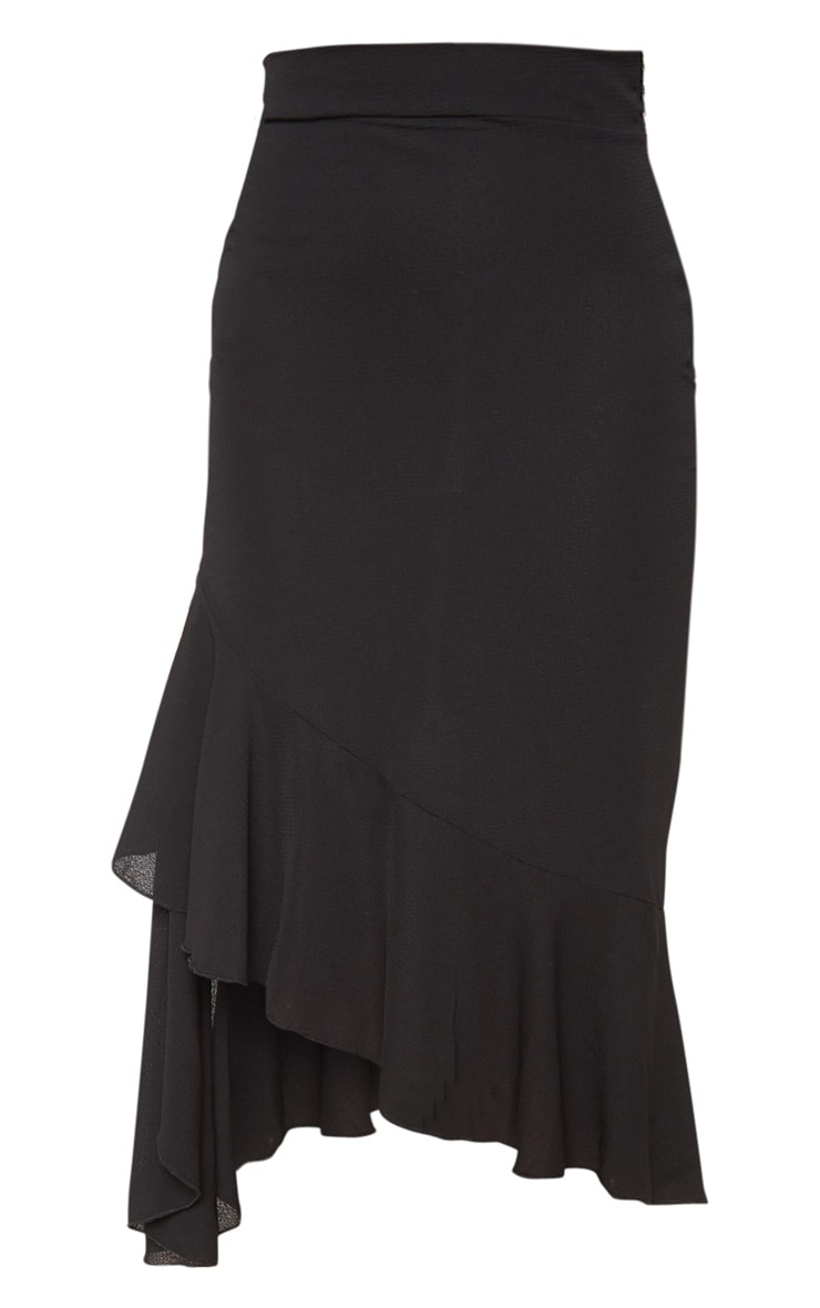 Petite Black Ruffle Detail Midi Skirt  3