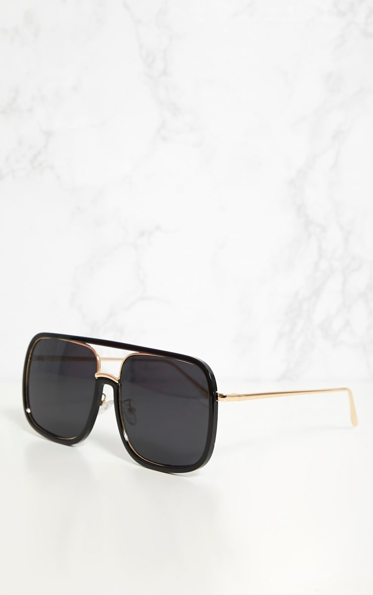 Black Aviator Flat Top Sunglasses 3