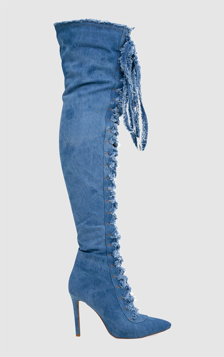 Blue Frayed Denim Lace Up Thigh High Boots 3