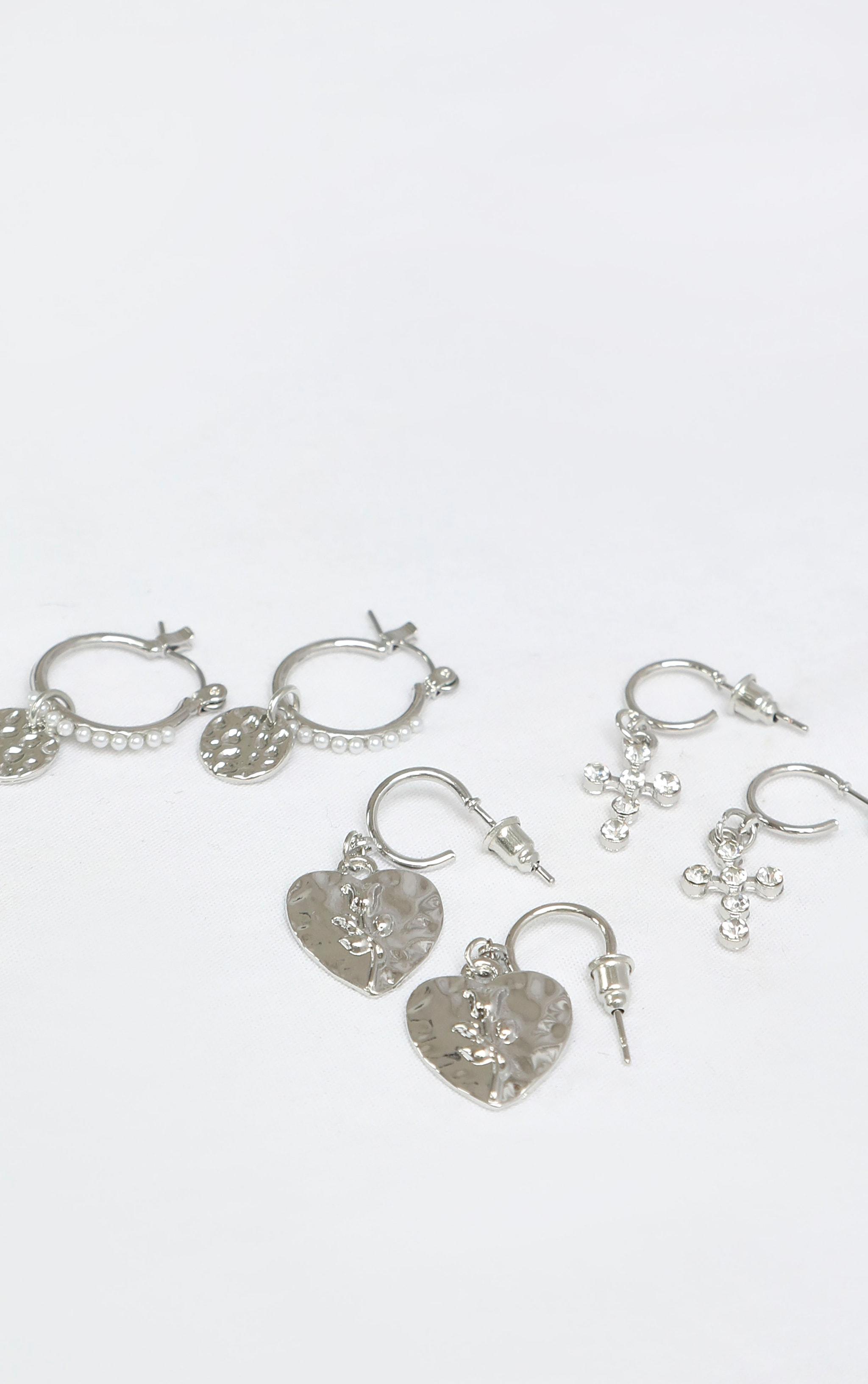 Silver Hammered Multi Pack Earrings 1