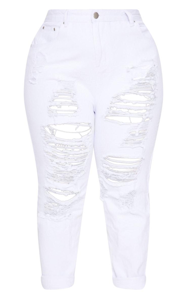 Plus White Super Distressed Mom Jeans 3
