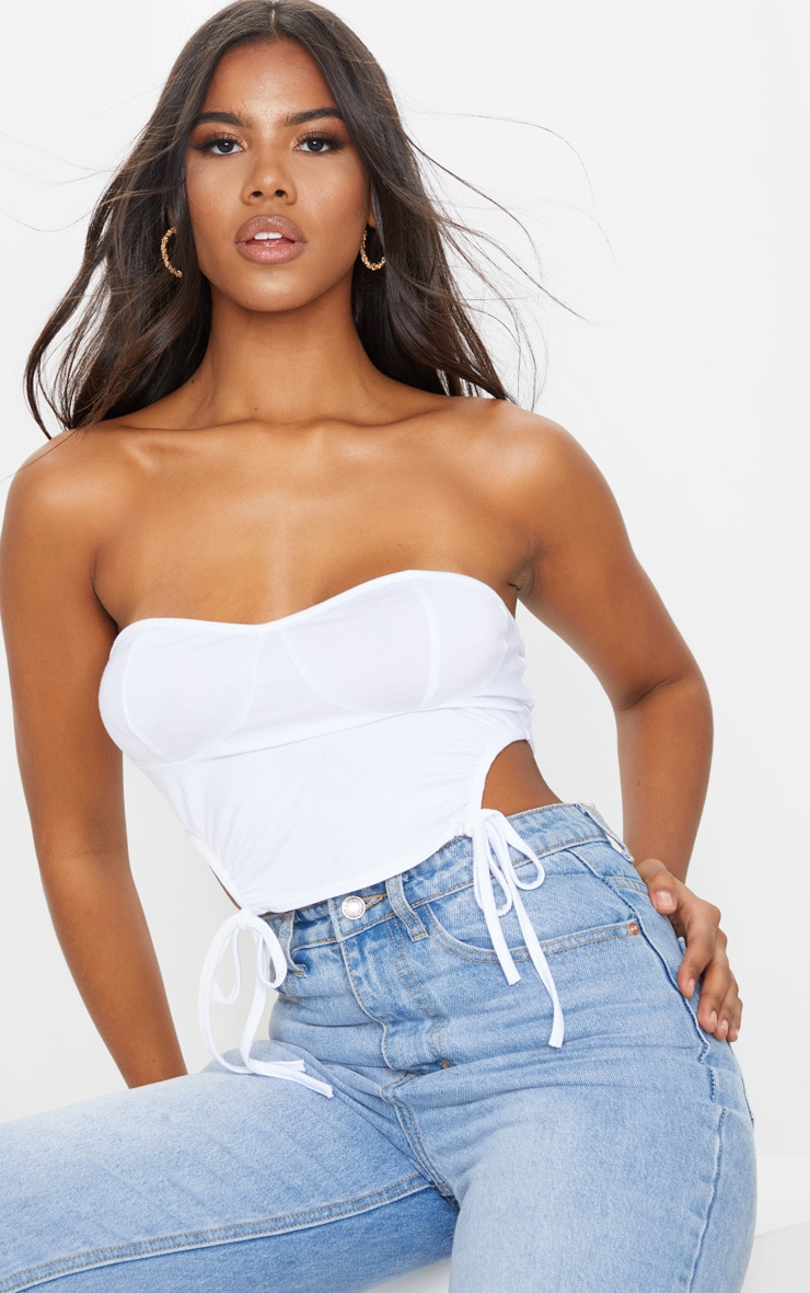 White Jersey Ruched Cup Detail Bandeau Top 1
