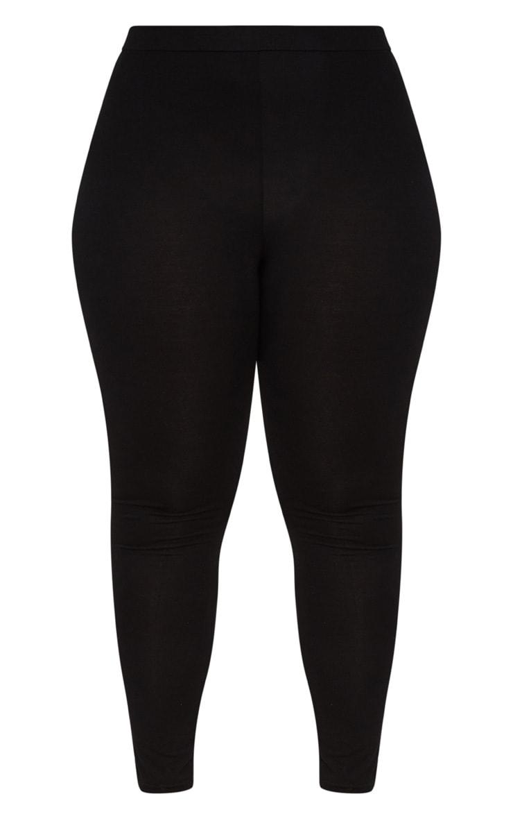 Plus Black Ruched Detail Leggings 3