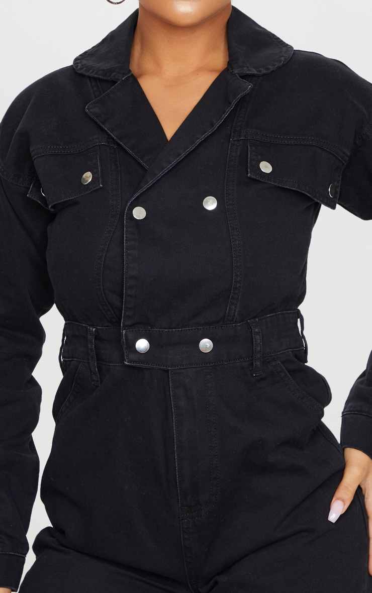 Washed Black Double Breasted Long Sleeve Denim Playsuit 4