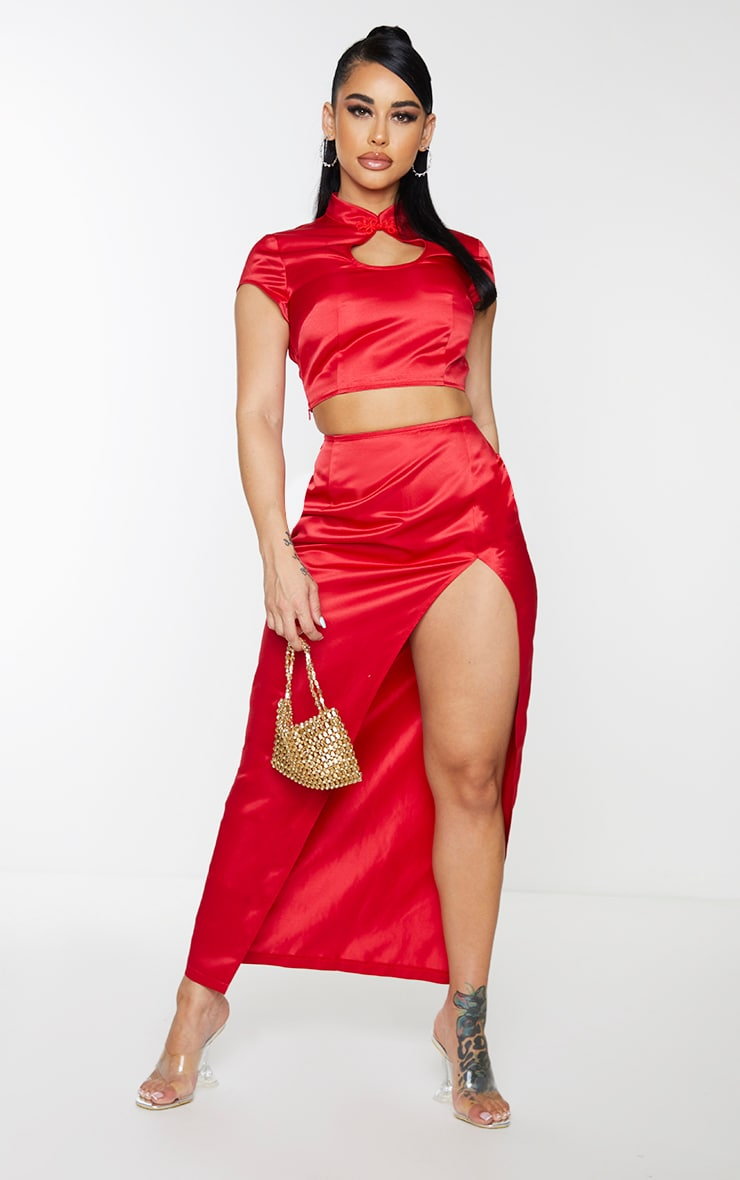 Shape Red Structured Satin Split Detail Midaxi Skirt 1