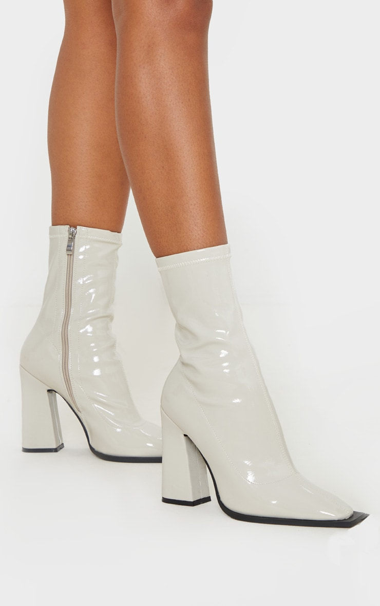 Off-White Square Toe Block Heel Ankle Sock Boot 2