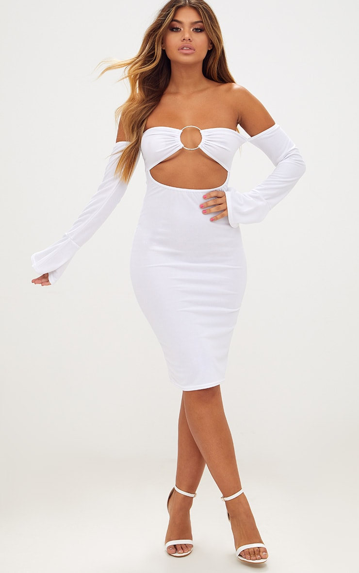 White O-Ring Cut Out Bell Sleeve Midi Dress 4