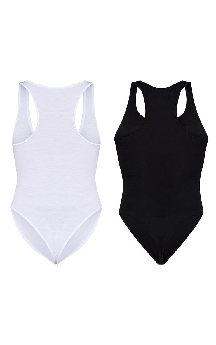 Basic Black & White Cotton Blend Racer Back Bodysuit 2 Pack 6