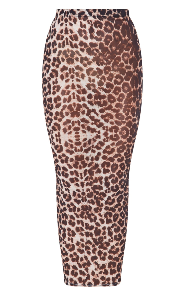 Brown Leopard Print Mesh Midaxi Skirt 3