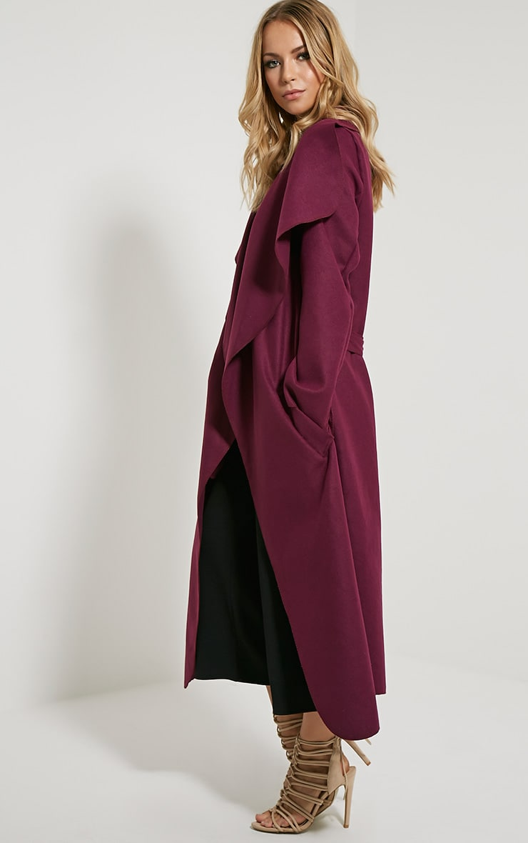 Veronica Purple Oversized Waterfall Belt Coat 3
