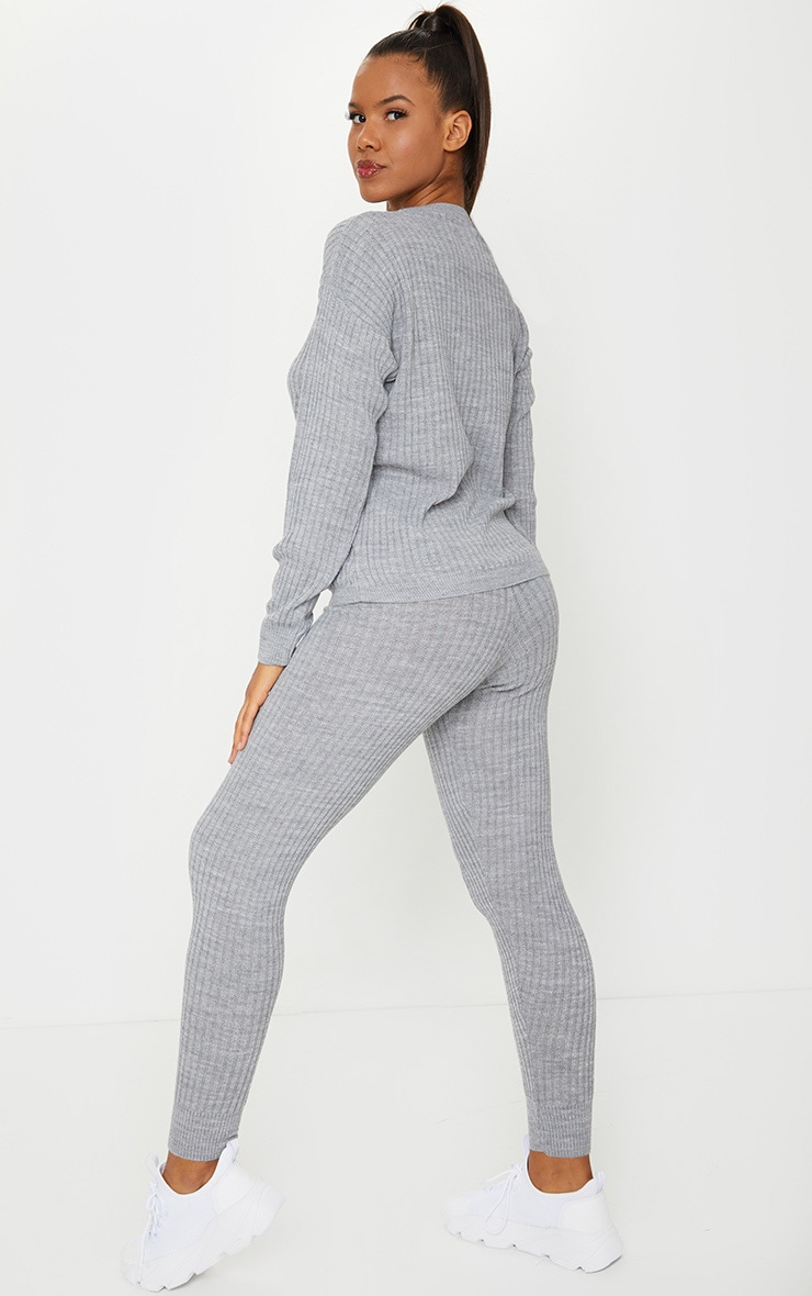 Grey Ribbed Slouchy Sweater Knitted Lounge Set 2
