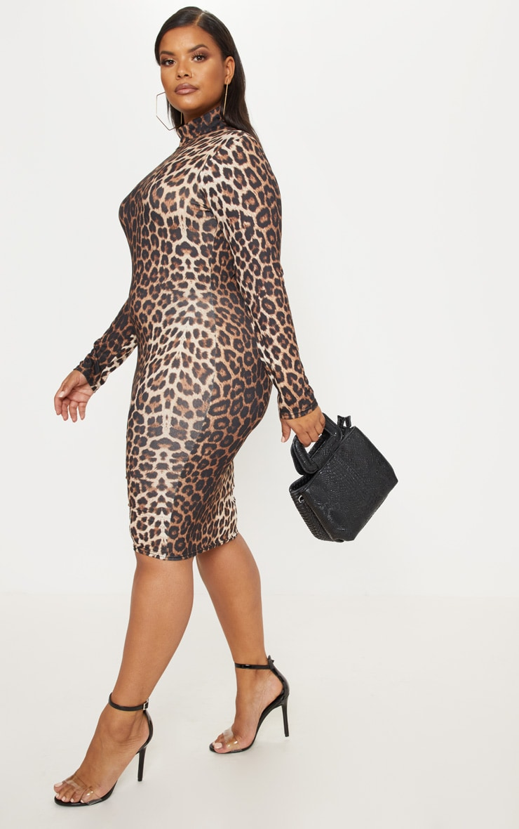Plus Tan Leopard Print High Neck Midi Dress 4