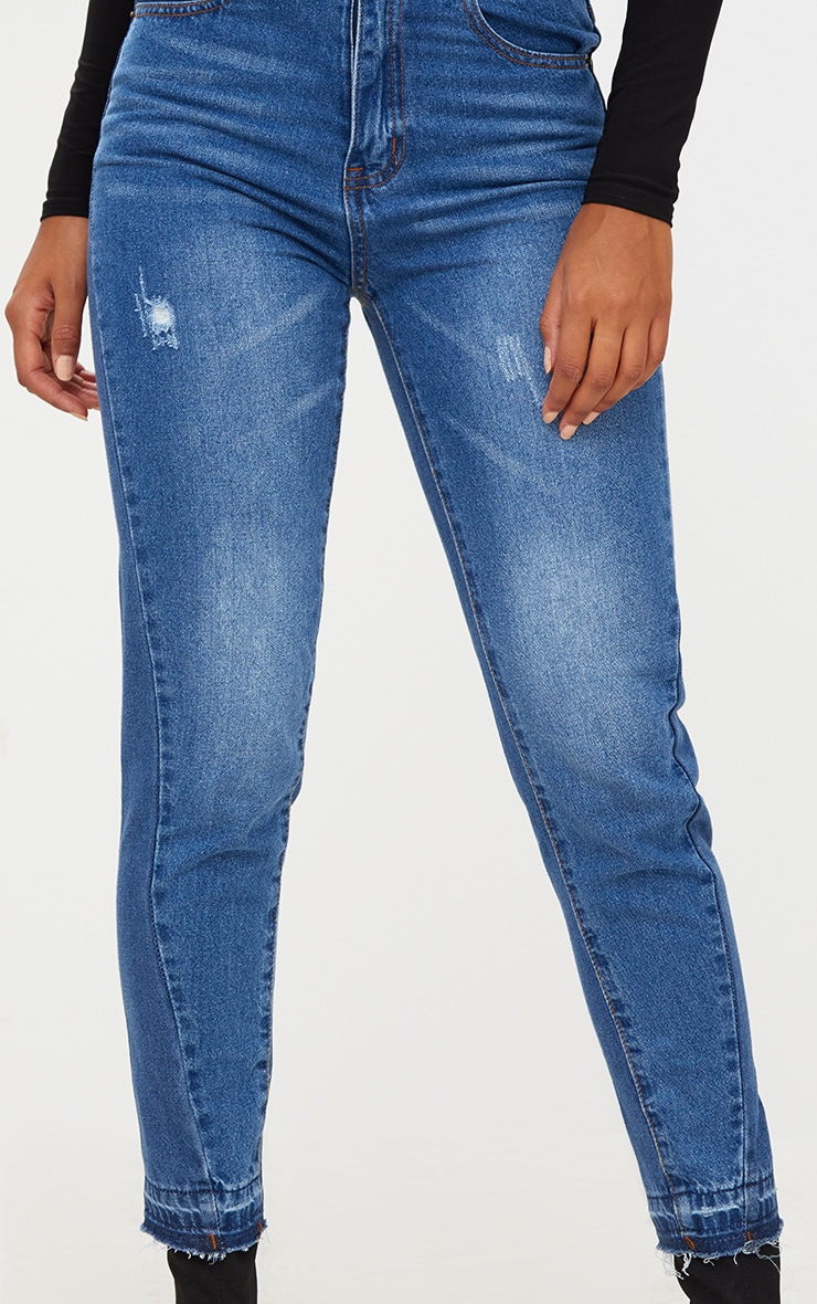Dark Wash Drop Hem Mom Jean 4