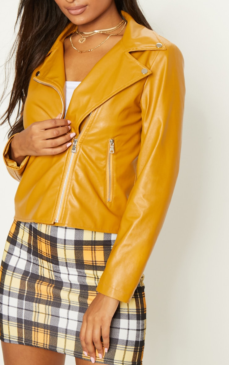 Mustard PU Zipped Biker Jacket  5