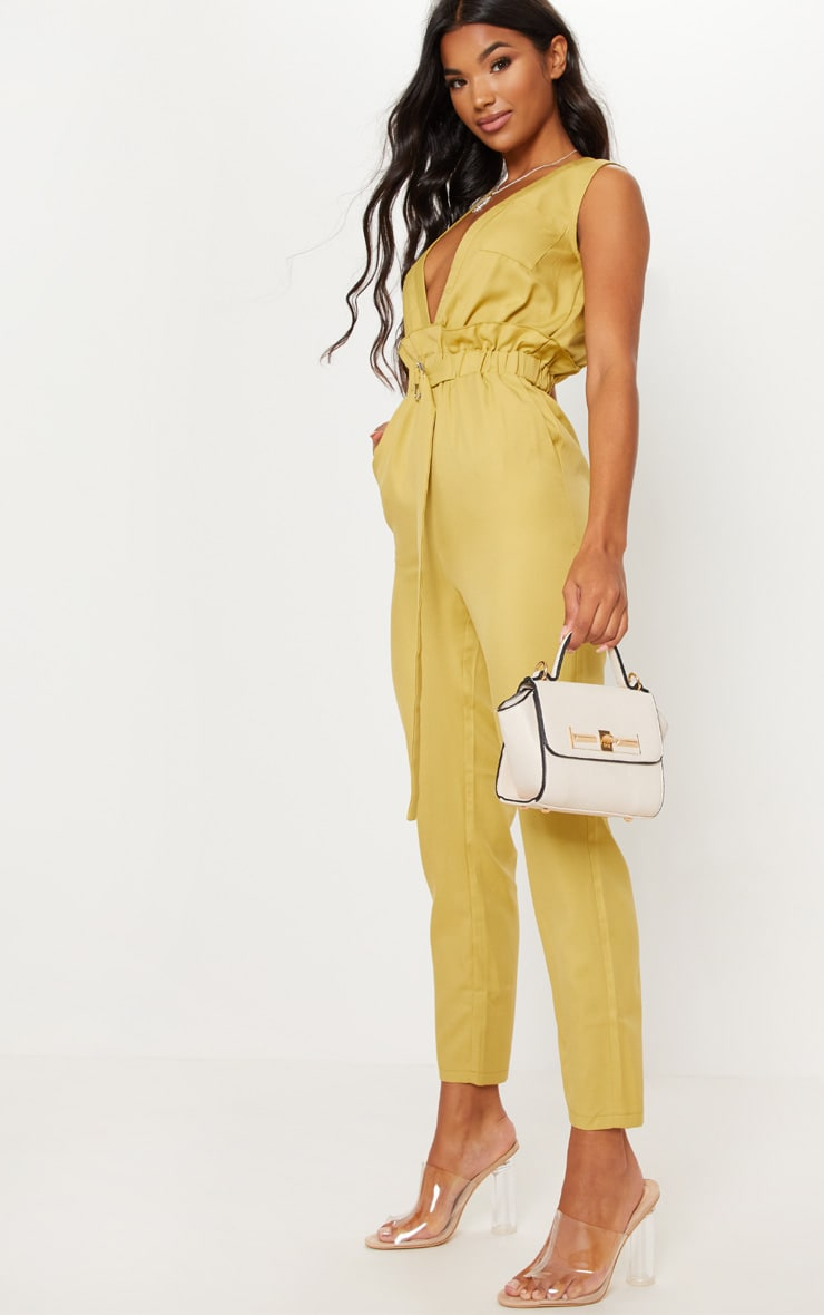 CHARTREUSE PLUNGE BELTED DETAIL D RING JUMPSUIT