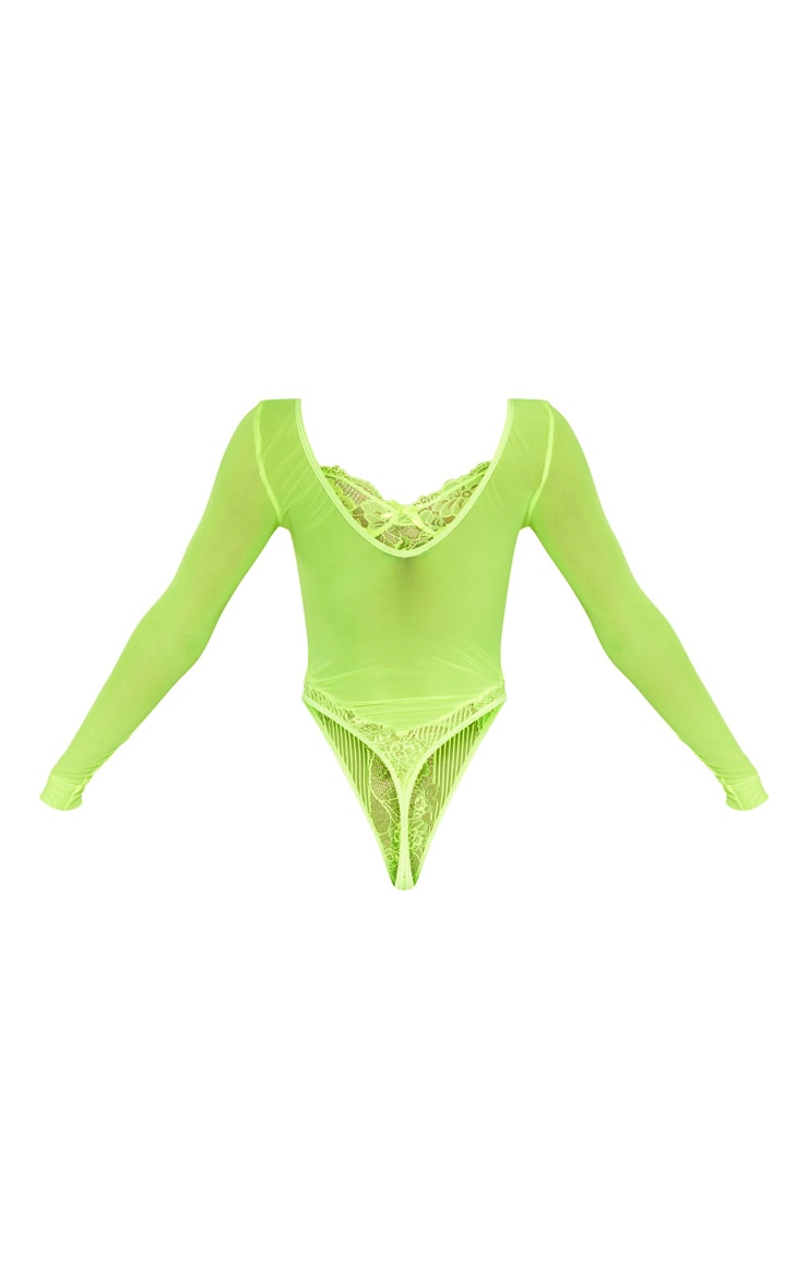 Neon Lime Long Sleeve Lace Insert High Leg Cupped Body 4