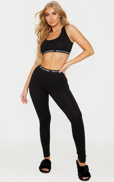 PRETTYLITTLETHING Black Bralet and Legging Pj Set