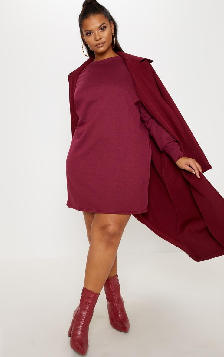Plus Burgundy Oversized Sweater Dress 4