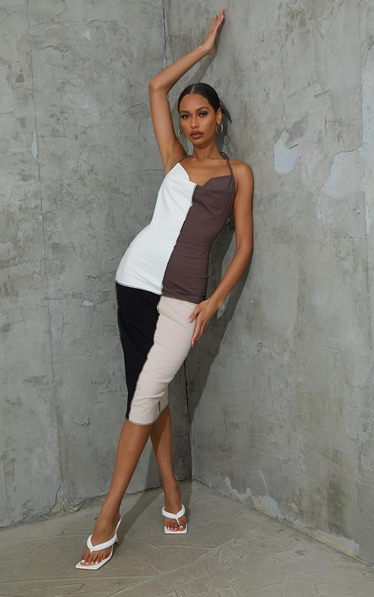 Brown Patchwork Overlock Stitch Detail Halterneck Midi Dress 1