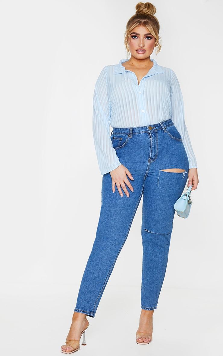 Plus Dusty Blue Striped Chiffon Oversized Shirt 3