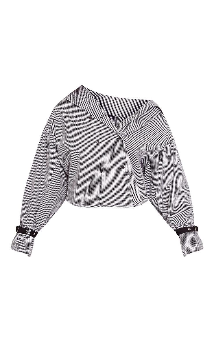 Divya Black Gingham Check Cuff Sleeve Off Shoulder Shirt 2