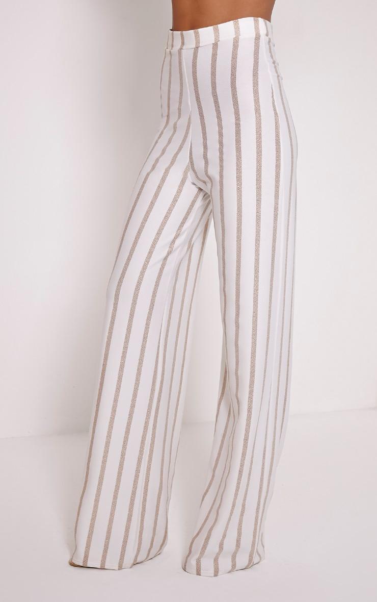 Isabel Cream Metallic Stripe Palazzo Trousers 3