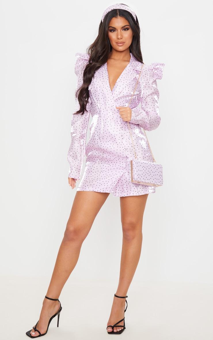 Robe blazer satinée lilas à manches bouffantes et imprimé pois 4