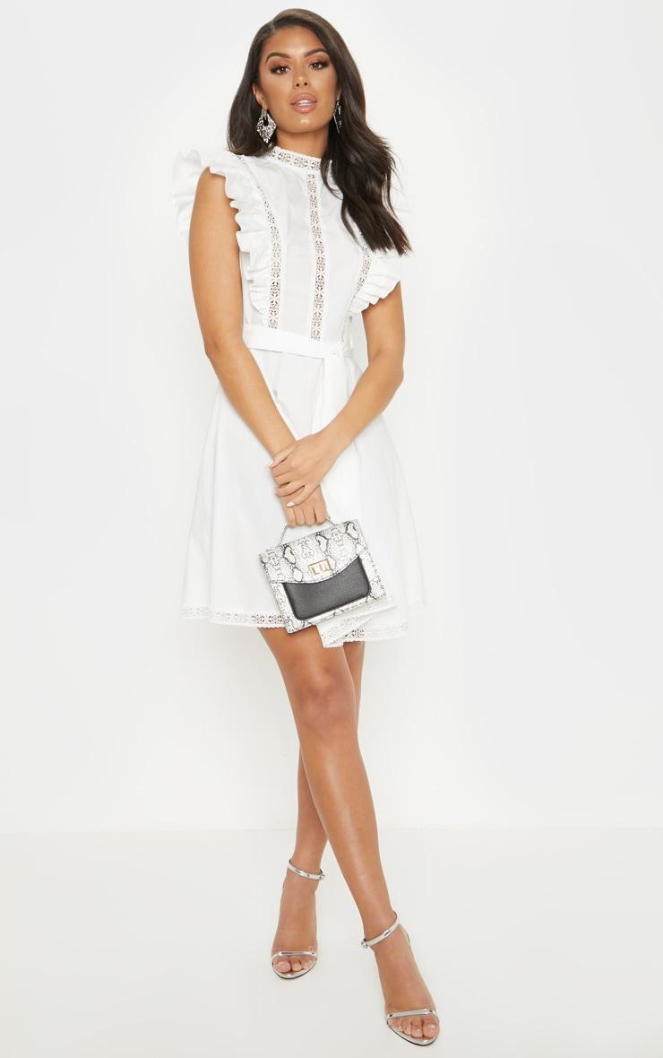 White Frill Sleeve Binding Detail Skater Dress 4