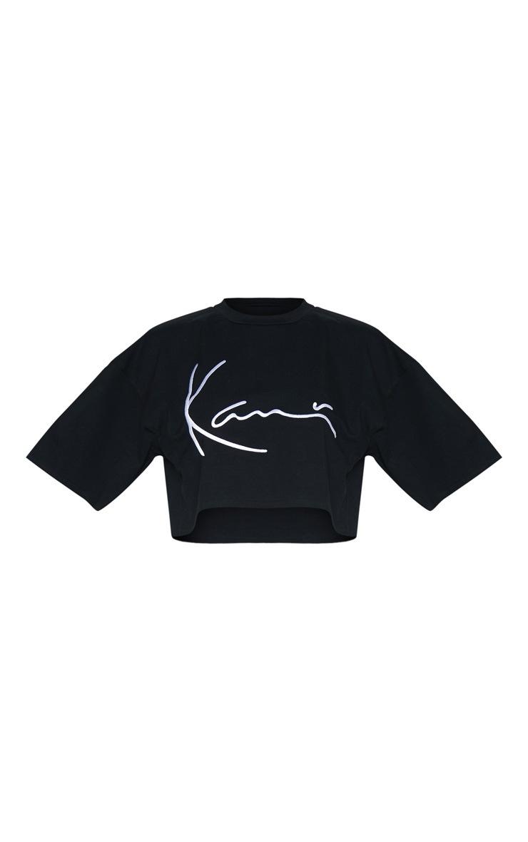 KARL KANI Black Embroidered Crop T Shirt  4