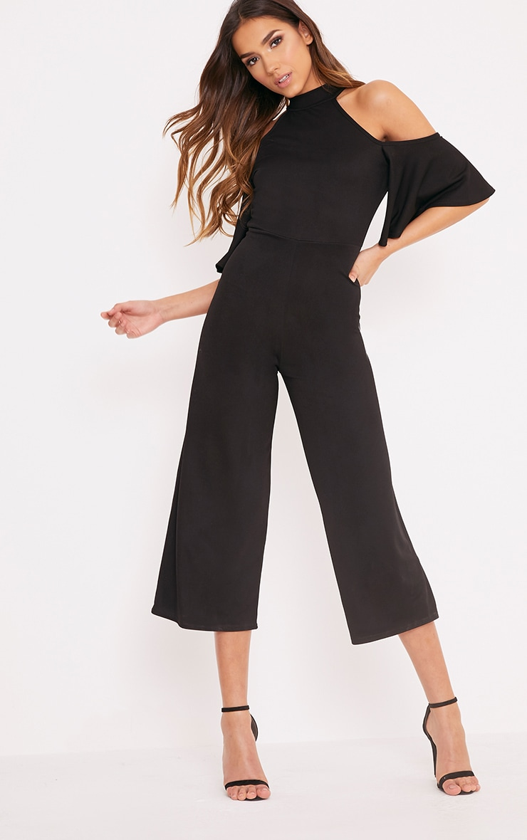 Jaymie Black Cold Shoulder Cullotte Jumpsuit 1