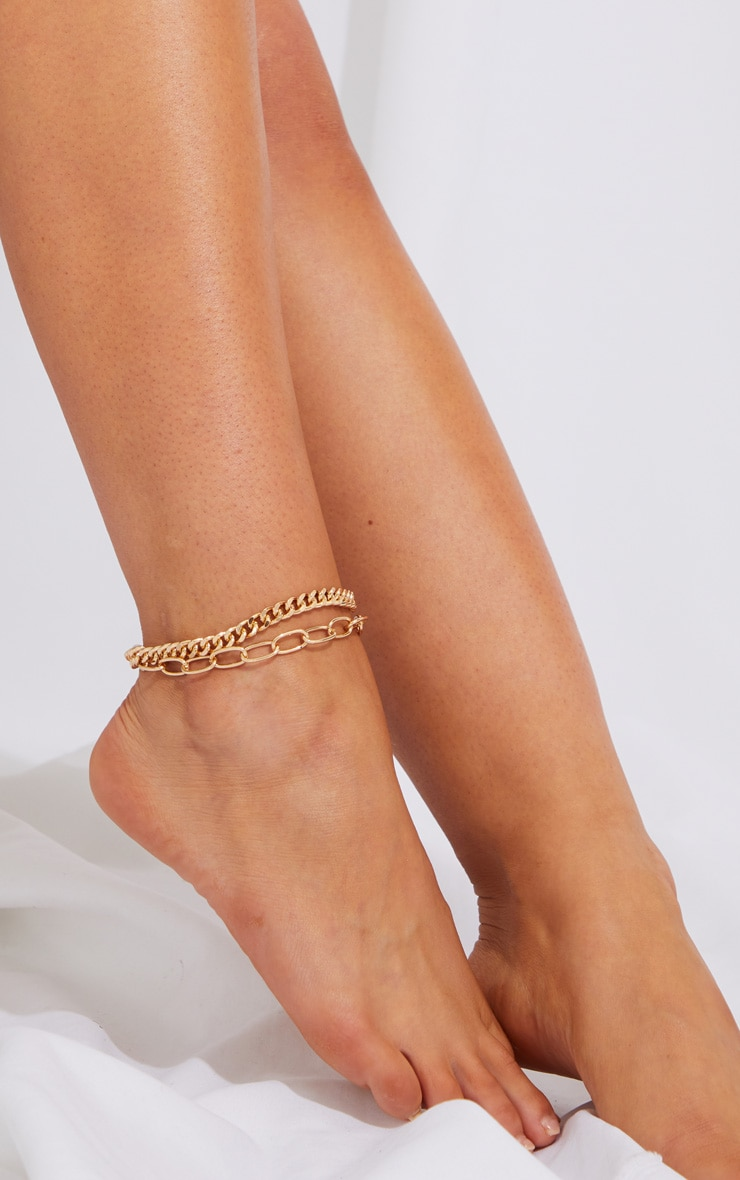 Gold Assorted Chain Anklets 1