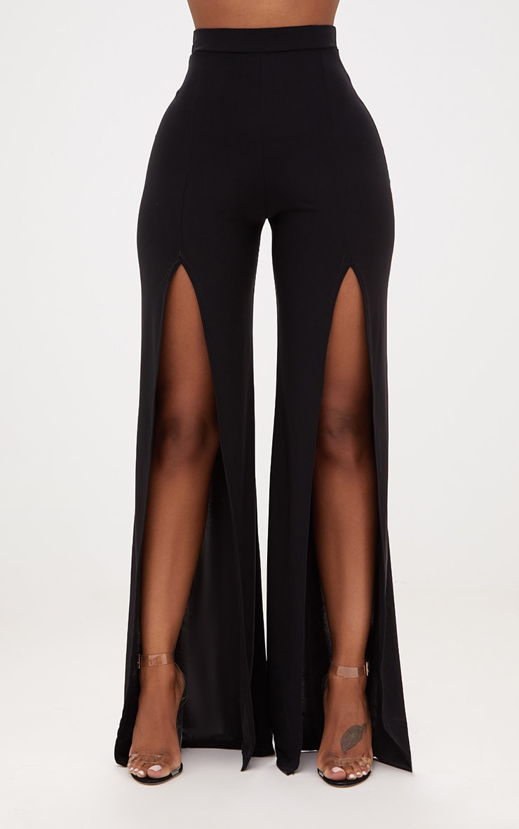 Shape Black Slinky Split Front Wide Leg Trousers 2