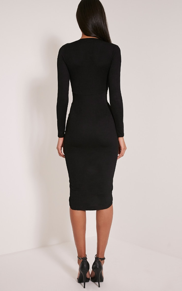 Zoey Black Ruched Midi Dress 2
