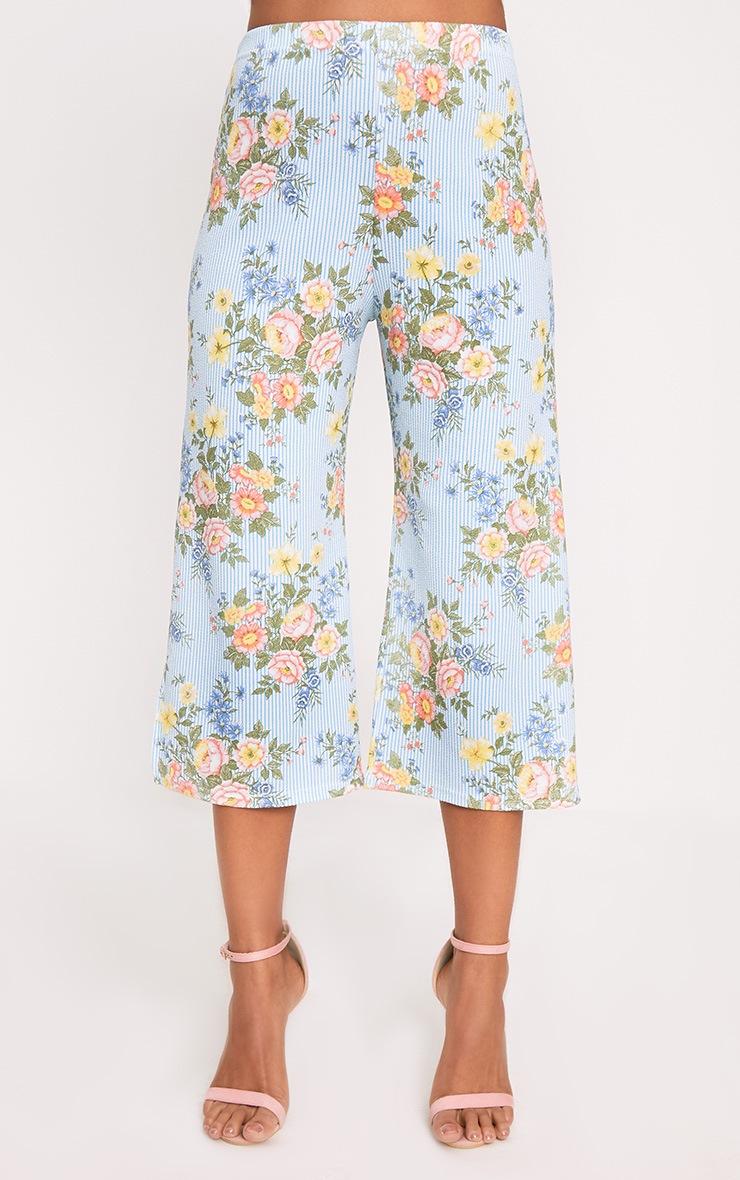Light Blue Mix Floral Stripe Split Culottes 2