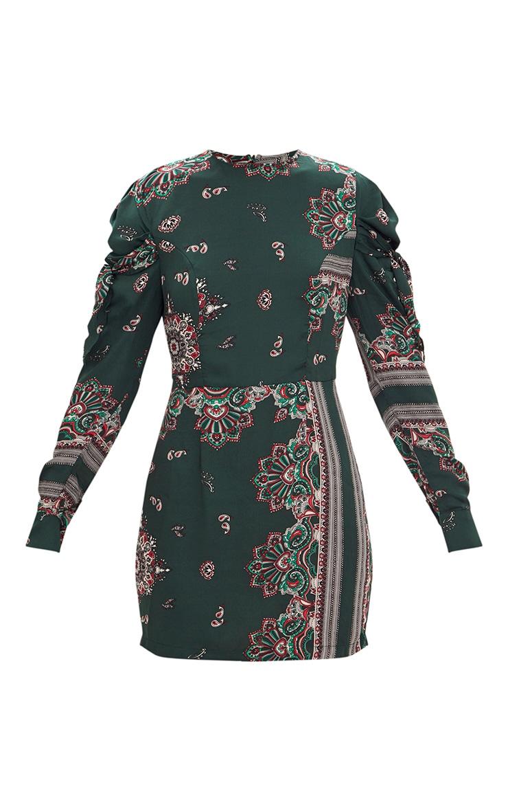 Green Scarf Print Long Sleeve Tie Detail Bodycon Dress 3