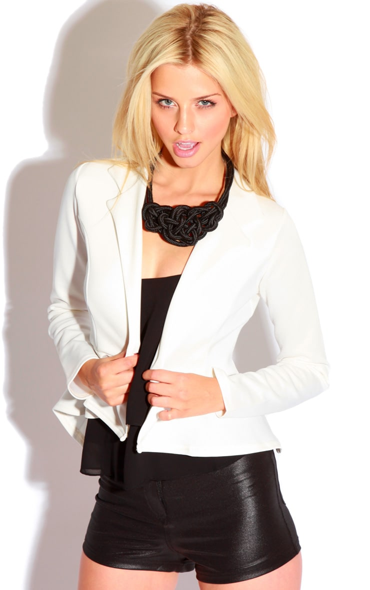 Caden White Peplum Button Blazer 1