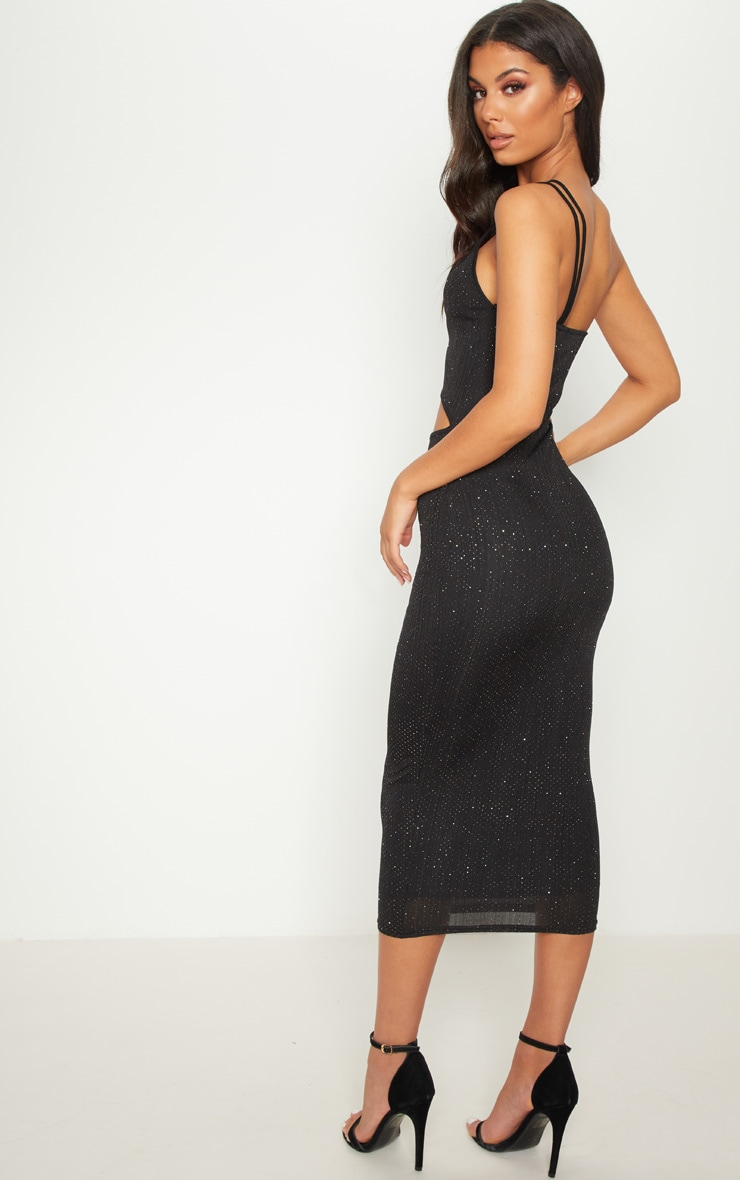 Black Glitter Strappy Cut Out Midi Dress 2