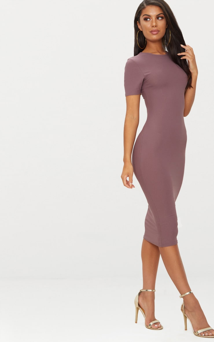 Dark Mauve Cap Sleeve Midi Dress  1