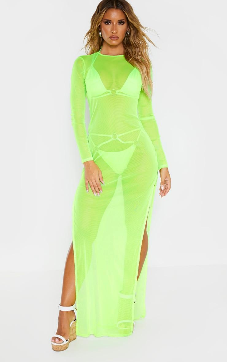 Neon Lime Mesh Long Sleeve Maxi Dress 2