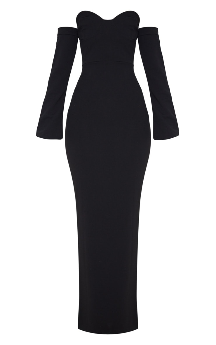 Black Cup Detail Bardot Sleeve Maxi Dress 3