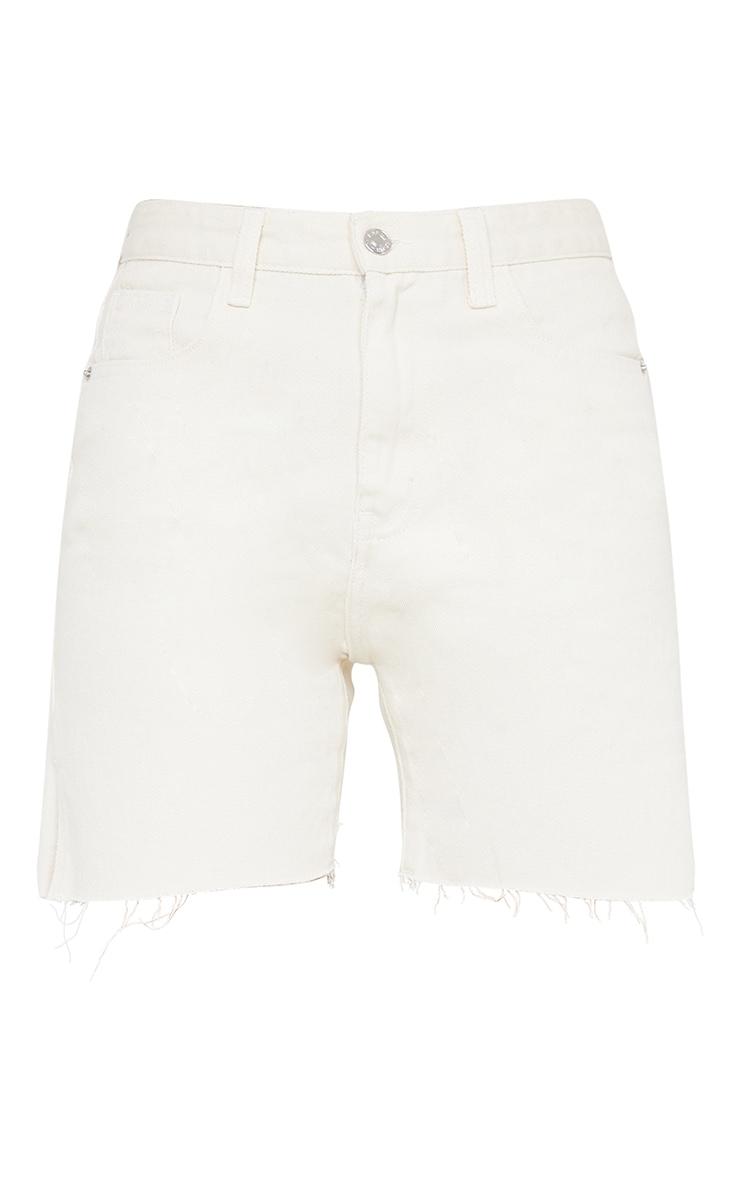 Ecru Longline Split Hem Detail Shorts 6