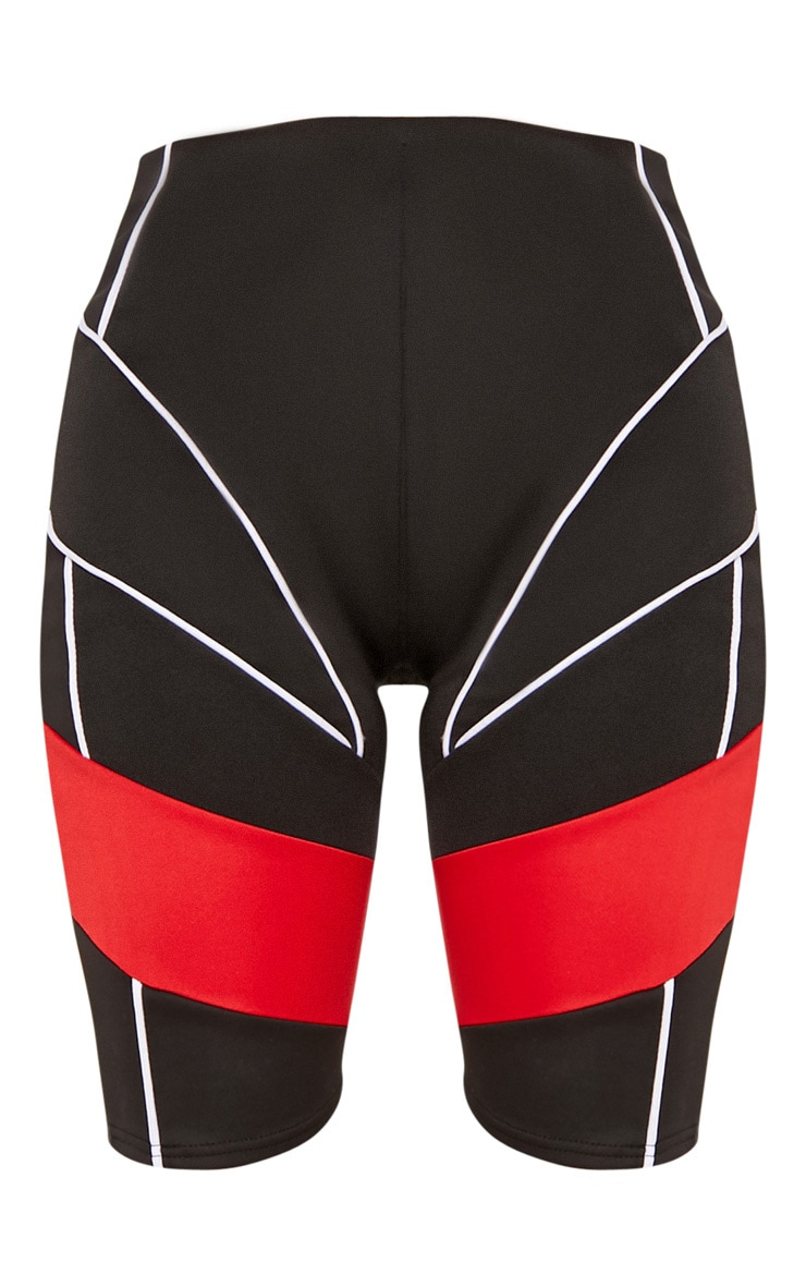 Black Super High Waisted Contrast Binding Bike Short 4
