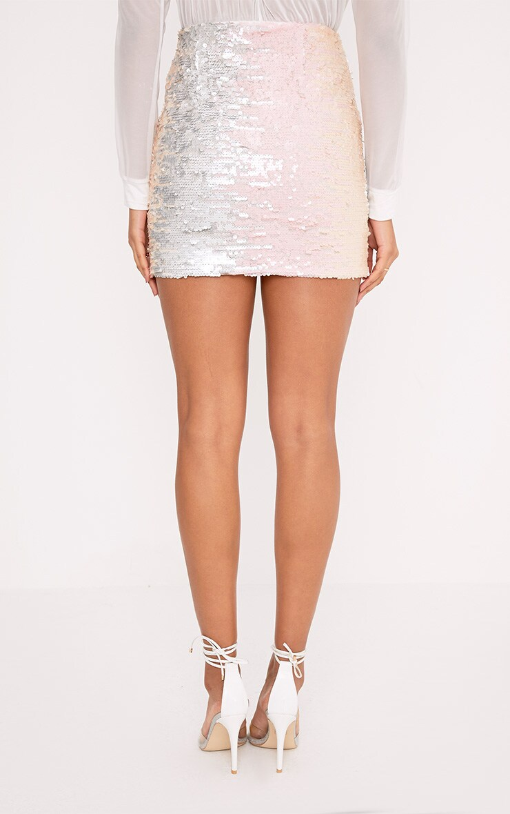 Haider Silver Multi Sequin Mini Skirt 4